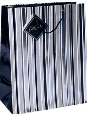 Ezüstcsíkos ajándéktasak, közepes (10x18x22,5 cm)