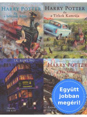 A Harry Potter sorozat 1-4. - illusztrált könyvcsomag