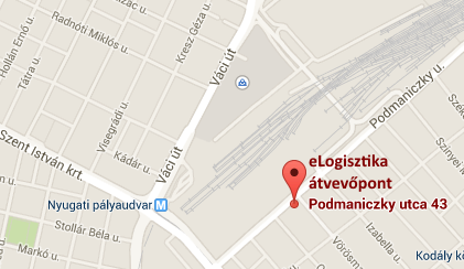 eLogisztika.hu átvételi pont Budapesten, a Podmaniczky u. 43-ban, a Nyugati Pályadudvarnál