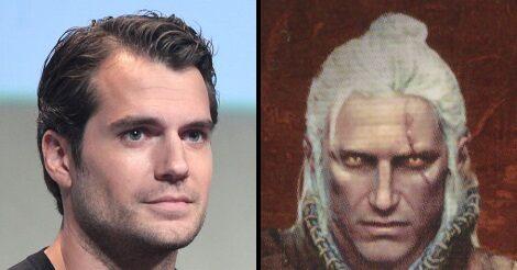 Henry Cavill és egy Geralt ábrázolás