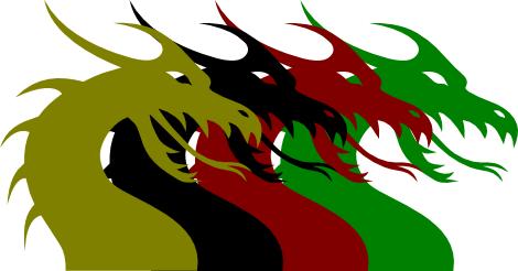 Arany, fekete, vörös és zöld sárkányok