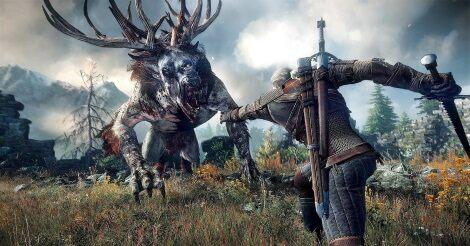 Witcher csatajelenet: Geralt szörnnyel küzd