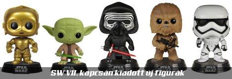 Az Ébredő Erő kapcsán kiadott Star Wars figurák, pl.: Kylo Ren, Csubakka, Yoda, Rohamosztagos, C-3PO