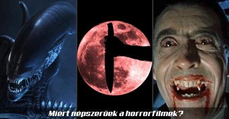 Horrorfilmek-illusztráció: Alien, pszichés horror és Drakula