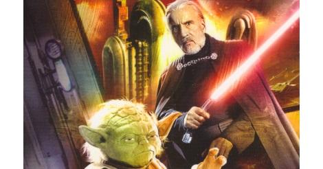 Yoda és Dooku gróf a Sötét találkozó c. könyv borítóján