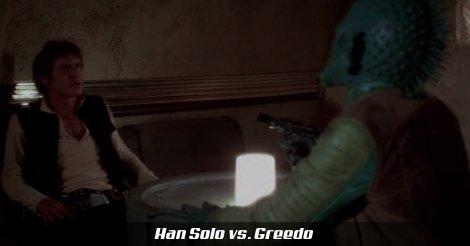 Han Solo és Greedo Mos Eisley egyik kocsmájában